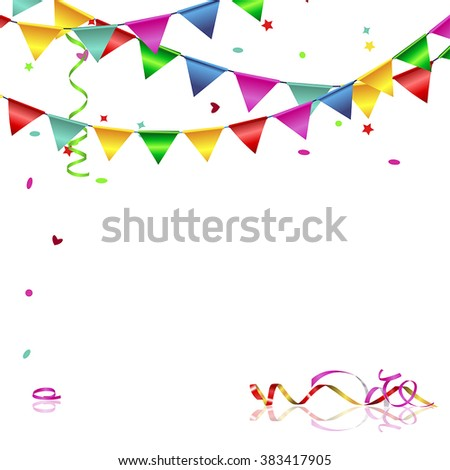 Vector background with flags and confetti - stock vector