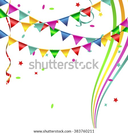 Vector background with flags and confetti. Isolated on white - stock vector