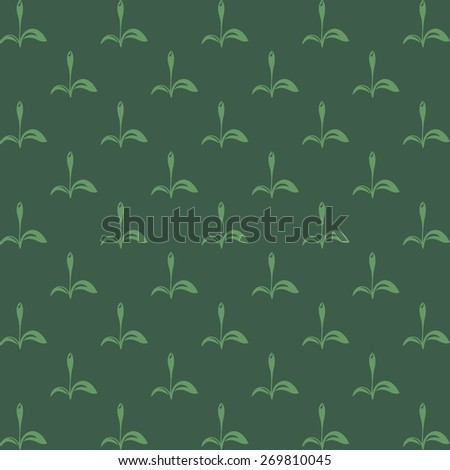 Vector background with floral elements on green