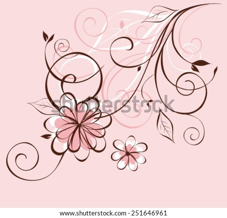 Vector background with flowers. Abstract floral illustration with copy space - stock vector