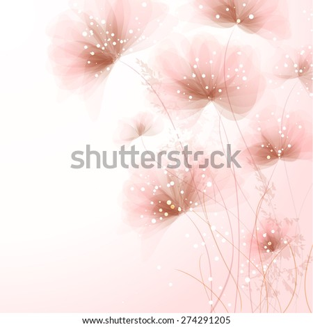 Vector background with flowers. EPS 10. Contains transparent objects. - stock vector