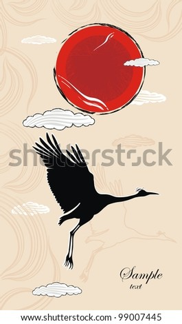 vector background with flying crane in grunge style