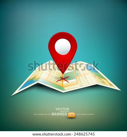 vector background with folded maps with red point markers - stock vector