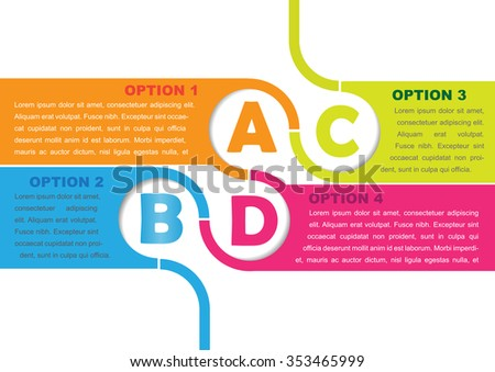 Vector background with four choices ABCD and a place for text - stock vector
