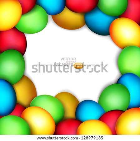 vector background with frame of easter eggs on white background - stock vector