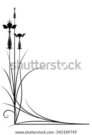 vector background with fuchsia in black and white color for corner design - stock vector