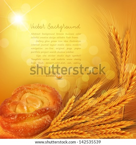 vector background with gold ears of wheat, bun, sunrays - stock vector