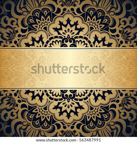 Vector Background With Gold Floral Vintage Pattern For Banner Wallpaper Invitation Card Booklet