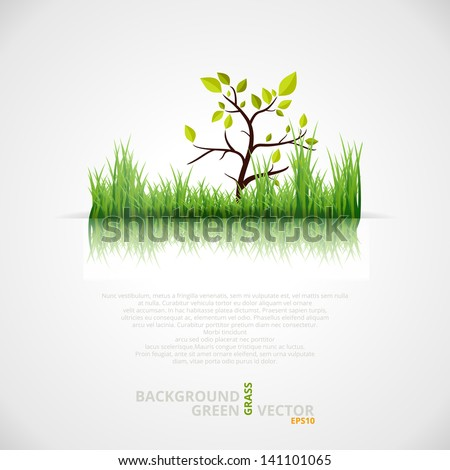 Vector Background with Green Grass and Tree.  - stock vector