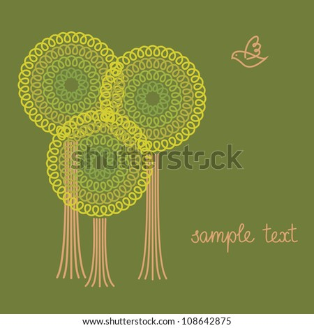 Vector background with group of stylized trees and bird. Concept of forest, garden, park. Green invitation and greeting card with text box. Abstract illustration for print and web - stock vector