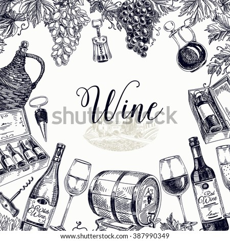 Vector background with hand drawn wine bottle, wine cask and wineglass. Winery illustration. Template design.  - stock vector