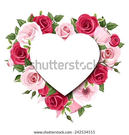 Vector background with heart and red and pink roses and lisianthus flowers. - stock vector