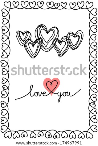 Vector background with hearts and frame of doodles. Wedding, Valentines Day card in hand drawn style. Decorative illustration for print, web - stock vector