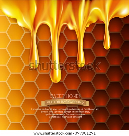 vector background with honeycombs and honey  - stock vector