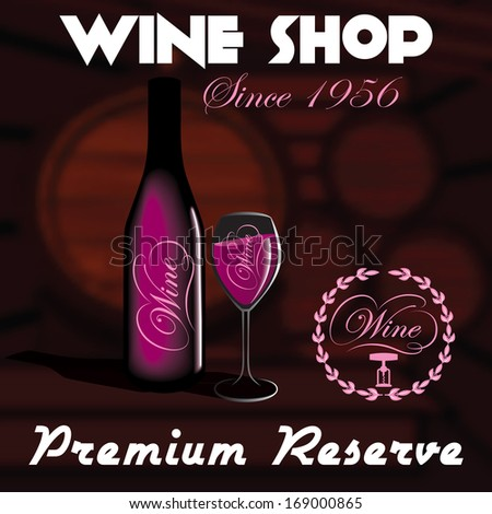 vector background with house, bottles and glasses for wine shop - stock vector