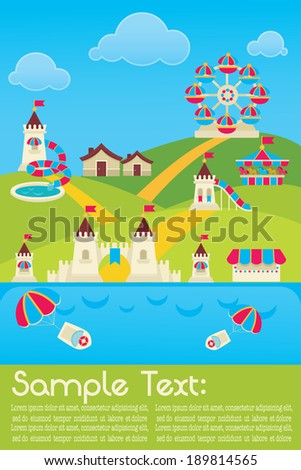 vector background with image of sunny summer amusement park and place for your text - stock vector