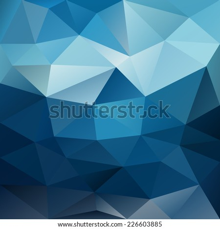 vector background with irregular tessellations pattern - triangular design in blue night sky colors - stock vector