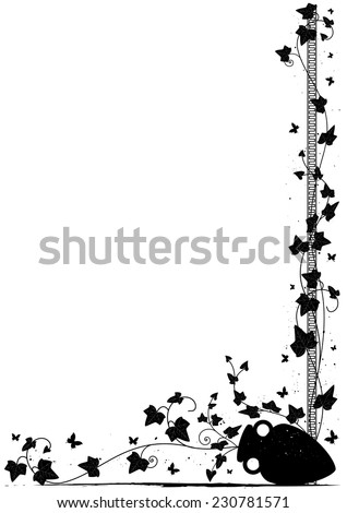 vector background with ivy, butterflies  and amphora for corner design - stock vector