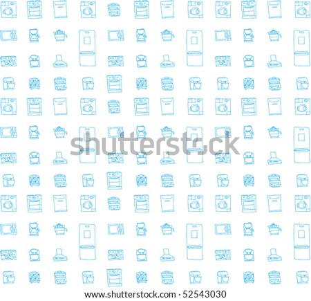 Vector background with kitchen stuff - stock vector