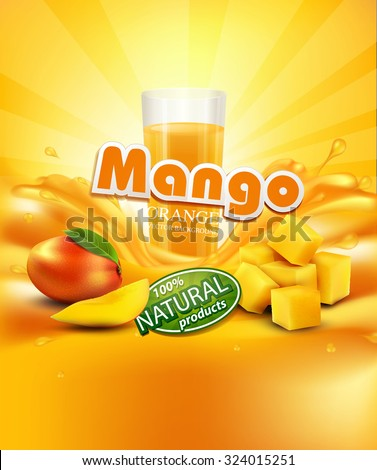 vector background with mango, a glass of juice, slices of mango - stock vector