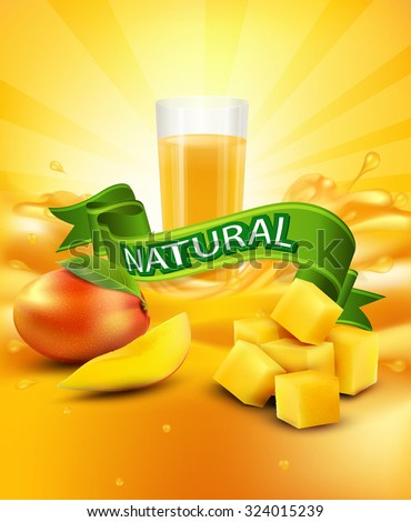 vector background with mango, a glass of juice, slices of mango, green ribbon - stock vector