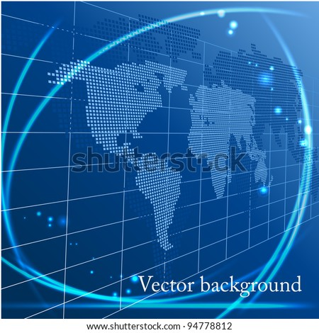 Vector background with map of the world - stock vector