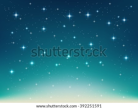 Vector background with night, stars in the sky, shining light. Abstract natural  background with stars for Your design project. Horizontal backdrop with  sparkling stars in the night clear sky - stock vector