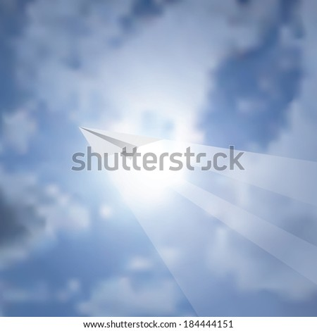 vector background with paper plane over the sun - stock vector