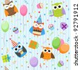 Vector background with party owls - stock vector
