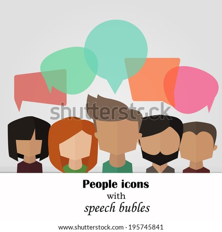 Vector background with people icons with colorful speech bubles - stock vector