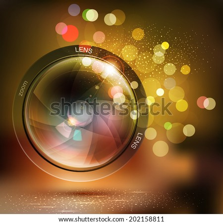 vector background with photo lens and bokeh - stock vector