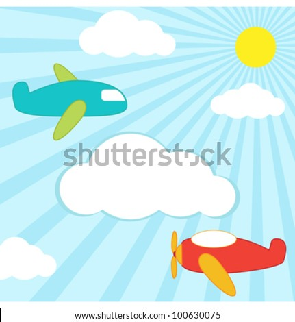 Vector background with planes in the sky and place for text - stock vector