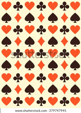 Vector background with playing cards symbols.  Endless texture can be used for casino design, web page background, surface and textile textures