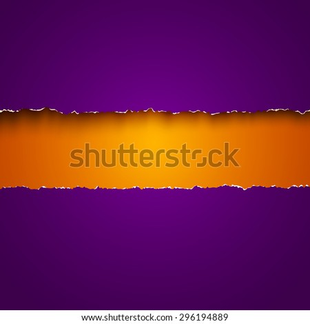 Vector background with purple and orange torn papers - stock vector