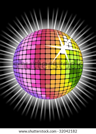 vector background with rainbow disco ball for valentine's party - stock vector
