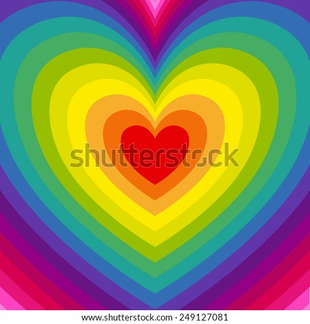 Vector background with rainbow hearts emanating from the center - stock vector