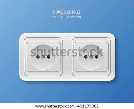 Vector background with realistic power socket