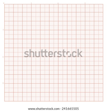 Vector background with red graph paper for engineering work. - stock vector