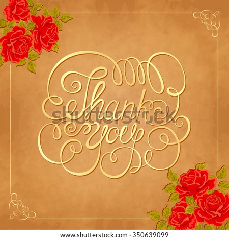 Vector background with red roses. Vector greeting card template. THANK YOU hand lettering, handmade calligraphy - stock vector