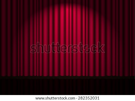 vector background with red velvet curtain on theater stage - stock vector
