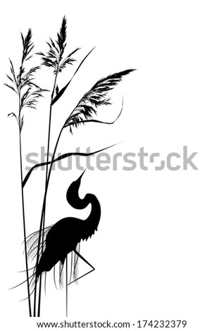 vector background with reed and heron in black and white colors - stock vector