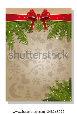 Vector background with ribbon, bow, pine branches and copy space for New Year and Christmas holidays. - stock vector
