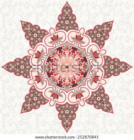 Vector background with round ornament. Fantasy flowers with leaves and curls. Seamless simple delicate ornament. Motives of vintage Indian fabrics. Tree of Life collection.  - stock vector