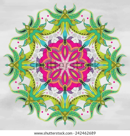 Vector background with round ornament. Floral fantastic oriental pattern. Watercolor hand drawing. - stock vector