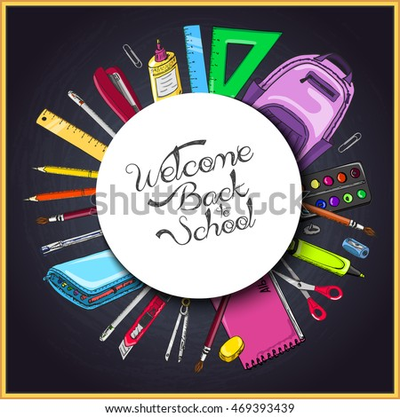 Vector background with school supplies in a circle. Vector illustration for your design