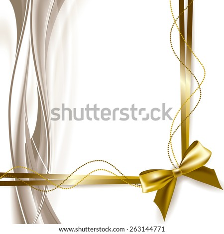 Vector Background with Shiny Bow. Abstract Wavy Illustration.  - stock vector