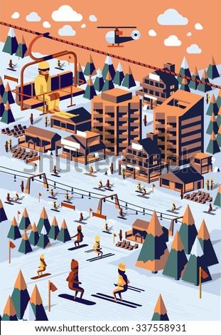 vector background with ski resort - stock vector
