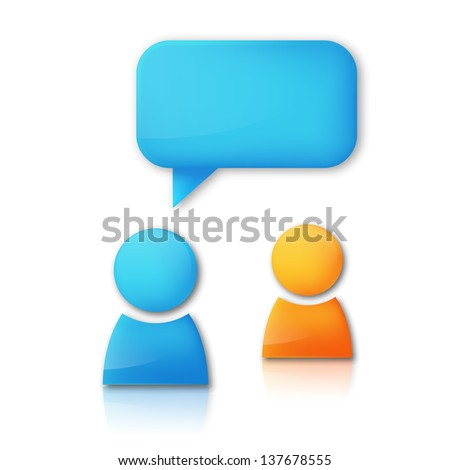 Vector background with speaking people - stock vector
