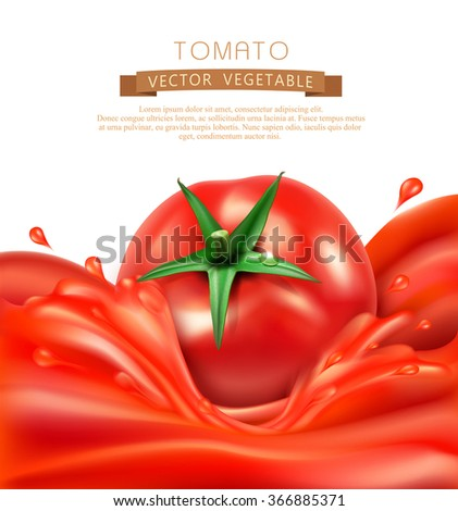 vector background with splashes, waves of red tomato juice and tomato. isolated on white background - stock vector