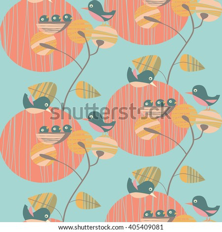 vector background with spring birds - stock vector